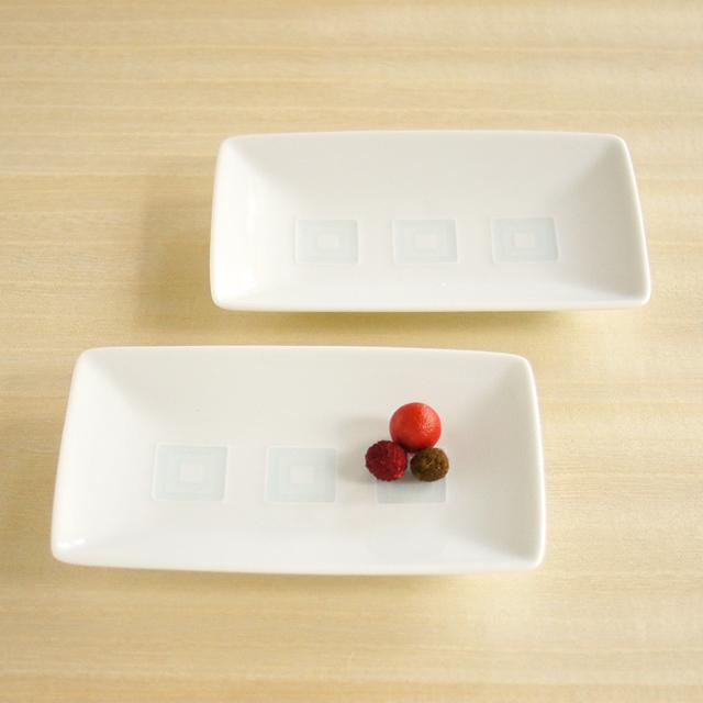 【和食器通販ショップ藍土な休日】白山陶器 升目紋長角皿