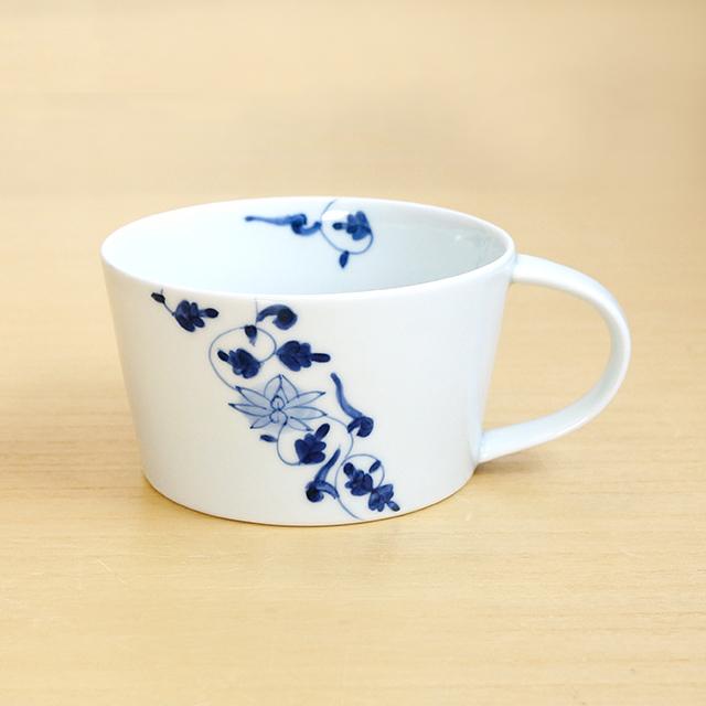 そうた窯 藍土オリジナルスープカップ(帯花唐草)