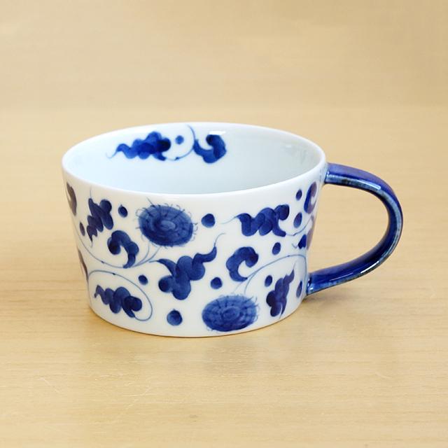 そうた窯 藍土オリジナルスープカップ(菊唐草)